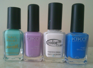 "Barry M ""Mint Green"", KIKO #330, Colour Club ""French Tip"" and KIKO #385"