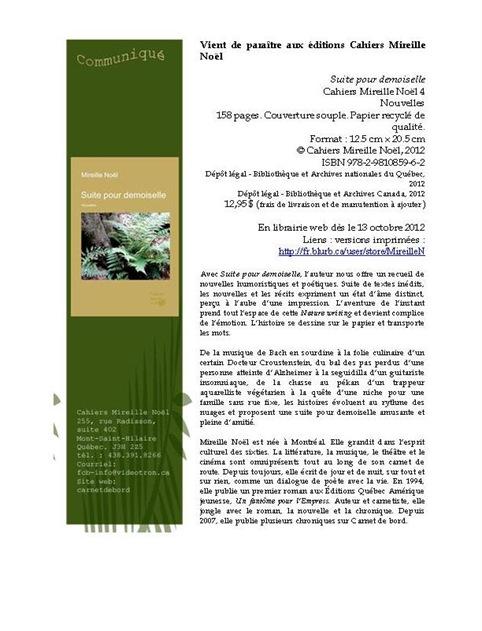 Cahiers Mireille Noël 4. Communiqué