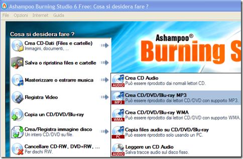 Ashampoo Burning Studio 6 Free modalità di masterizzazione mp3