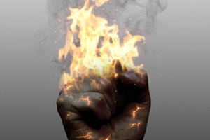 create a realistic burning image