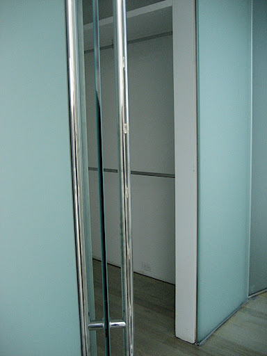 My original closets and the 9-foot glass doors and panels.