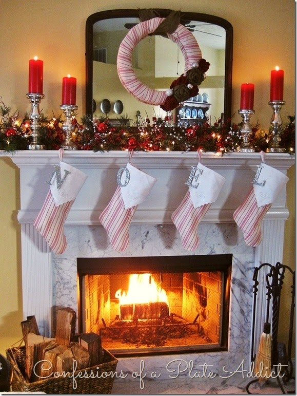 CONFESSIONS OF A PLATE ADDICT French Ticking and Burlap Christmas Mantel