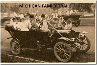 Gould_Wm Val in car with wife and others in parade_with MICHIGAN FAMILY TRAILS ON TOP OF PIC_resized smaller still