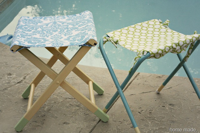 turquoise and lime green stool