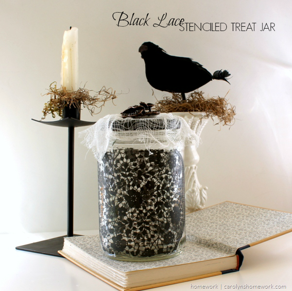 Black Lace Halloween Treat Jar using Martha Stewart silkscreens and paints via homework | carolynshomework.com
