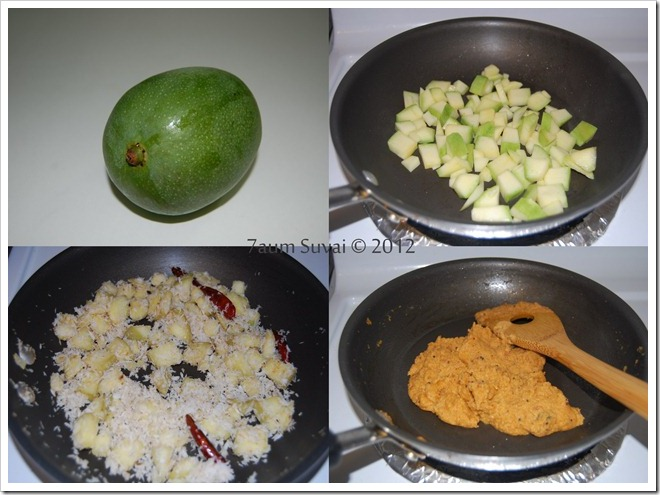 Green mango thuvaiyal Process