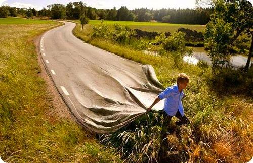 Estrada boa como um tapete