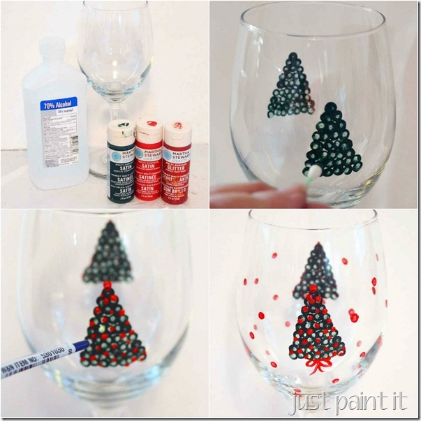 dipdot Christmas wine glass