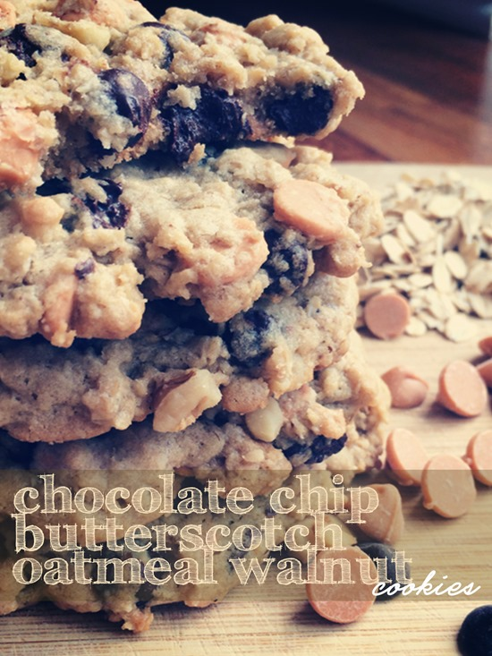 Chocolate Chip Butterscotch Oatmeal Walnut Cookies