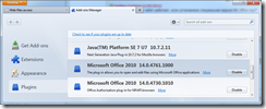 Plugin Microsoft Office 2010