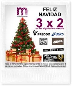 Feliz Navidad 3x2 en modayfitness.com. Llevate 3 prendas y paga 2 hasta el 26 diciembre.