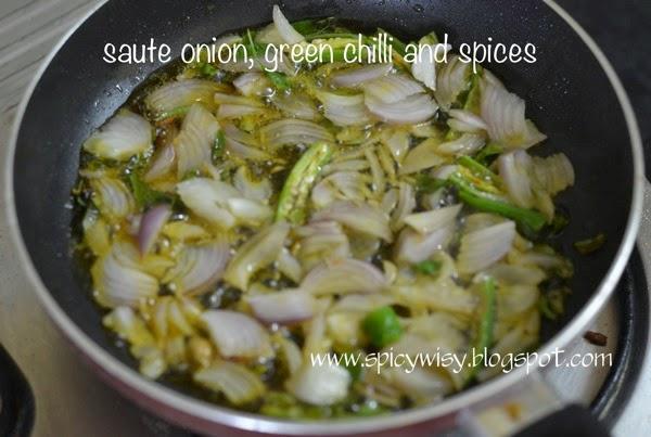 Saute onion green chilli and spices