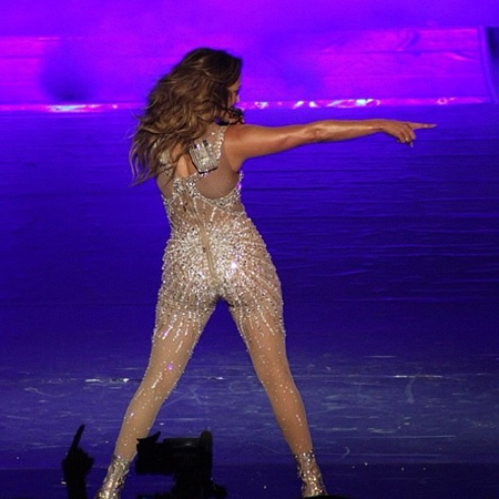 Jennifer Lopez in see-through skintight suit