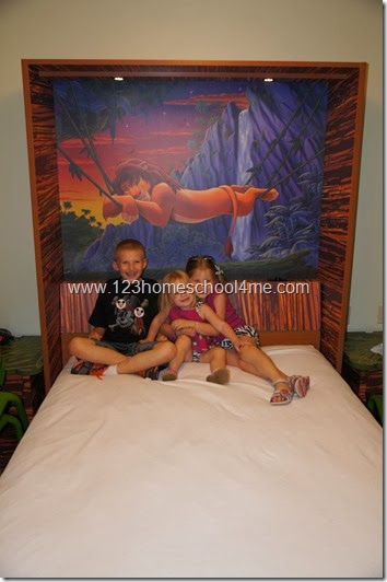 Clever fold down talbe becomes a comfortable bed at Disney ARt of Animation Family Suites