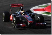 Hamilton nelle prove libere del gran premio d'Italia 2011