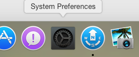 OS X Yosemite Dock showing System Preferences