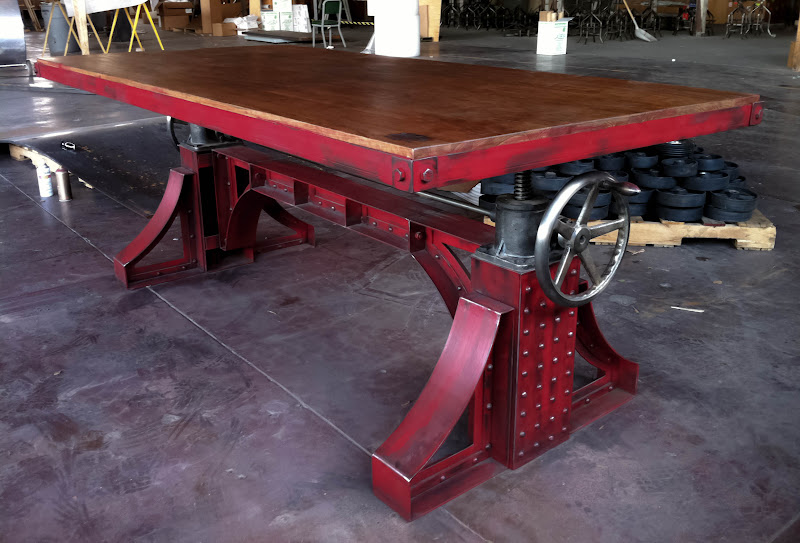 Antique adjustable height bar table vintage industrial furniture vintage industrial bronx crank table 1g watchthetrailerfo