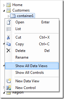 Show All Data Views context menu option in the Project Explorer.