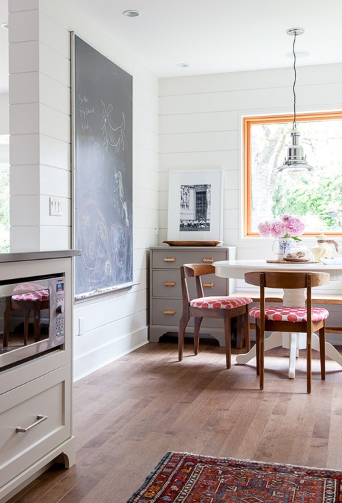 kitchen nook planked walls