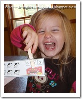 Minnie (3) LOVED putting the clothespins on top of the correct number of animals!
