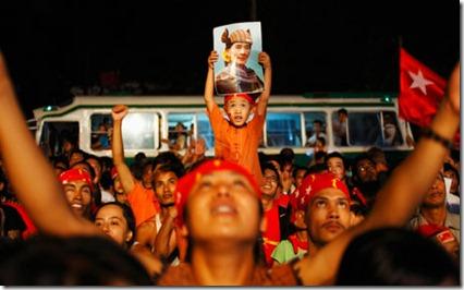 Burma by-election celebrations