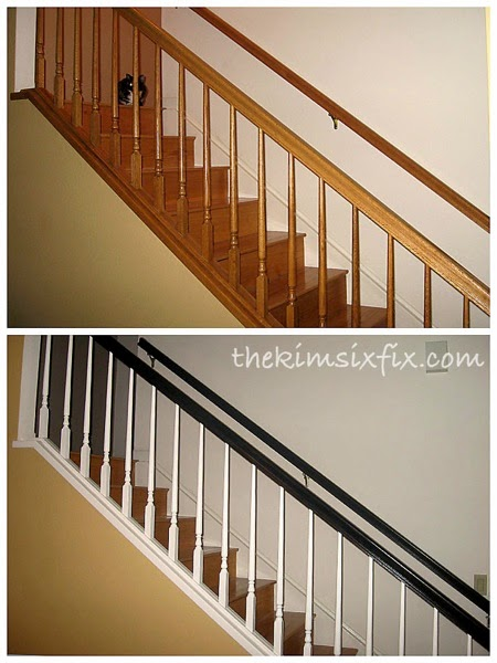Oak stair rail makeover
