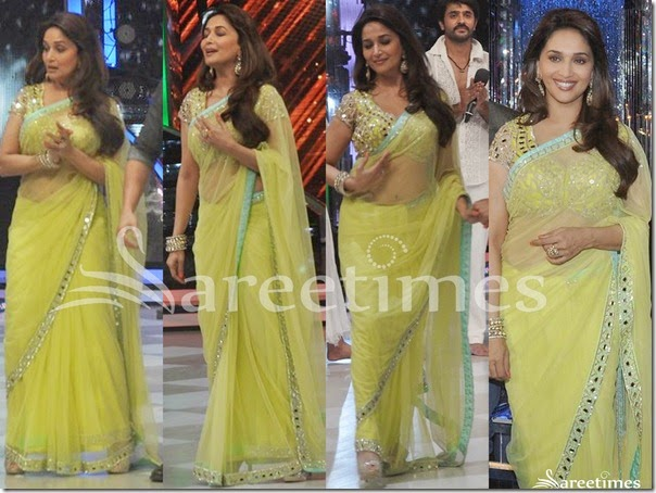 Madhuri_Dixit_Green_Net_Saree