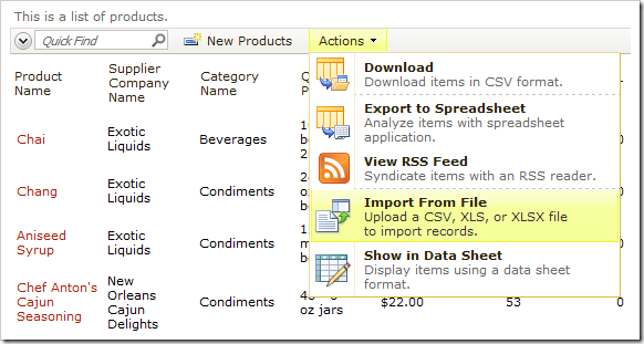 Import From File action on the Products list.