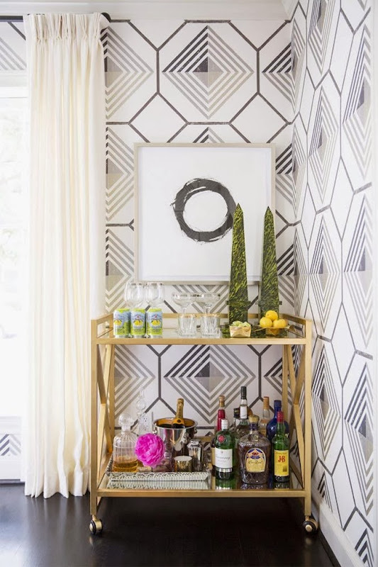 Sally_Wheat_Domino_magazine_geometric_wallpaper_bar_cart