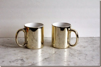 Vintage 80s Glam Gold Coffee Mugs