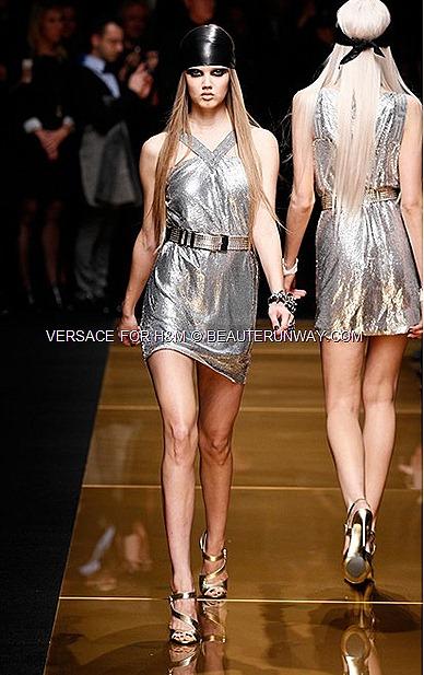 Versace H&M New York Iconic Mesh Dress Runway Show Donatella Versace
