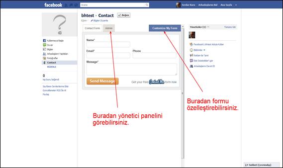 Facebook Hayran Sayfaları İçin İletişim Formu Uygulaması