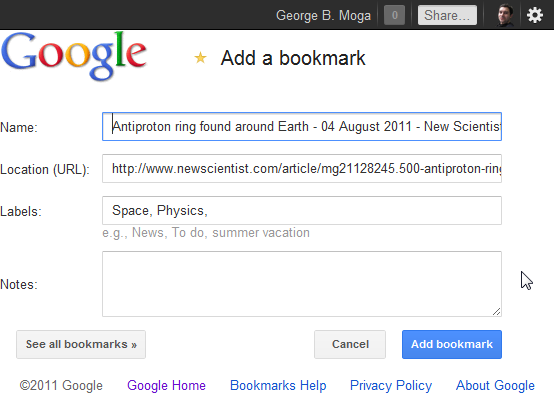 Google Bookmarks with new interface for bookmarklet