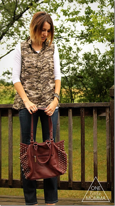 camo blouse, dark denim, nude heels #shop #cbias