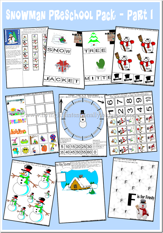 Kindergarten Worksheets - Snowman theme