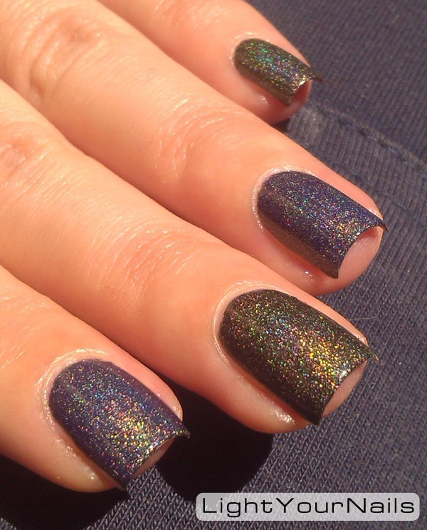 nded holographic Brown Saddle + Essence Glowing in the Dark top coat