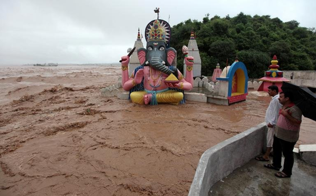A temple to to the god Ganesh is immersed in floodwaters in Indian-administered Kashmir after the worst floods in half a century. Photo: Rock937online.com