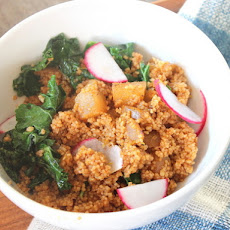 Make-Ahead Harissa Couscous With Pear, Kale, and Lemon