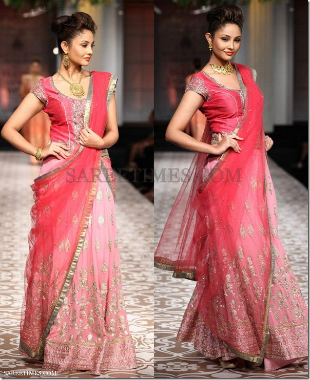 Azva_Pink_Embroidery_Shimmer_Saree