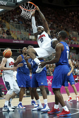 lebron james usa 120729 france 10 LeBron Scores 9 Points and 8 Assists as USA Beat France in Olympic Opener
