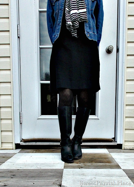Black Dress, Black boots, Denim jacket, Striped scarf