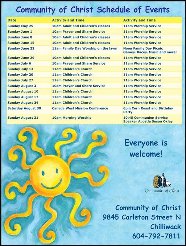 Chilliwack summer schedule