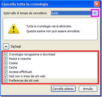 Firefox cancellare i dati di navigazione