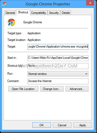 Google Chrome's Properties - Private Browsing Mode 2
