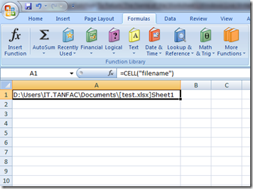 Excel Function To Return The Name of the Worksheet
