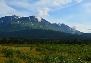 The Chugach Mountains north of Seward looking south