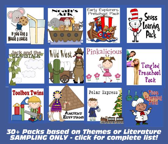 Themed Family Leanring Packs for 1st Grade