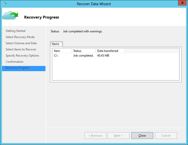 Recover Data Wiz - Recovery Completed