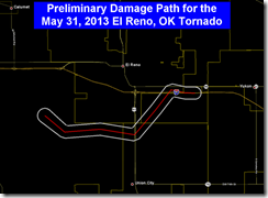 damage path for the El Reno tornado
