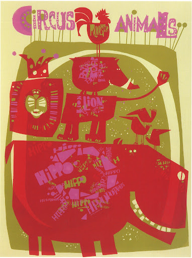 What happy animals. Circus Animals 20x26 Poster (silkscreen) 1968